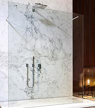 Скляна душова перегородка прозора зі штангою від стіни до скла