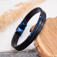 Кожаный браслет синий с пластиной под гравировку 176275