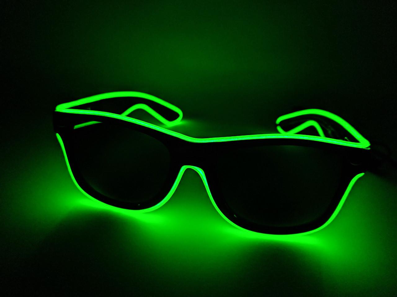 Светящиеся неоновые очки для вечеринок зеленые