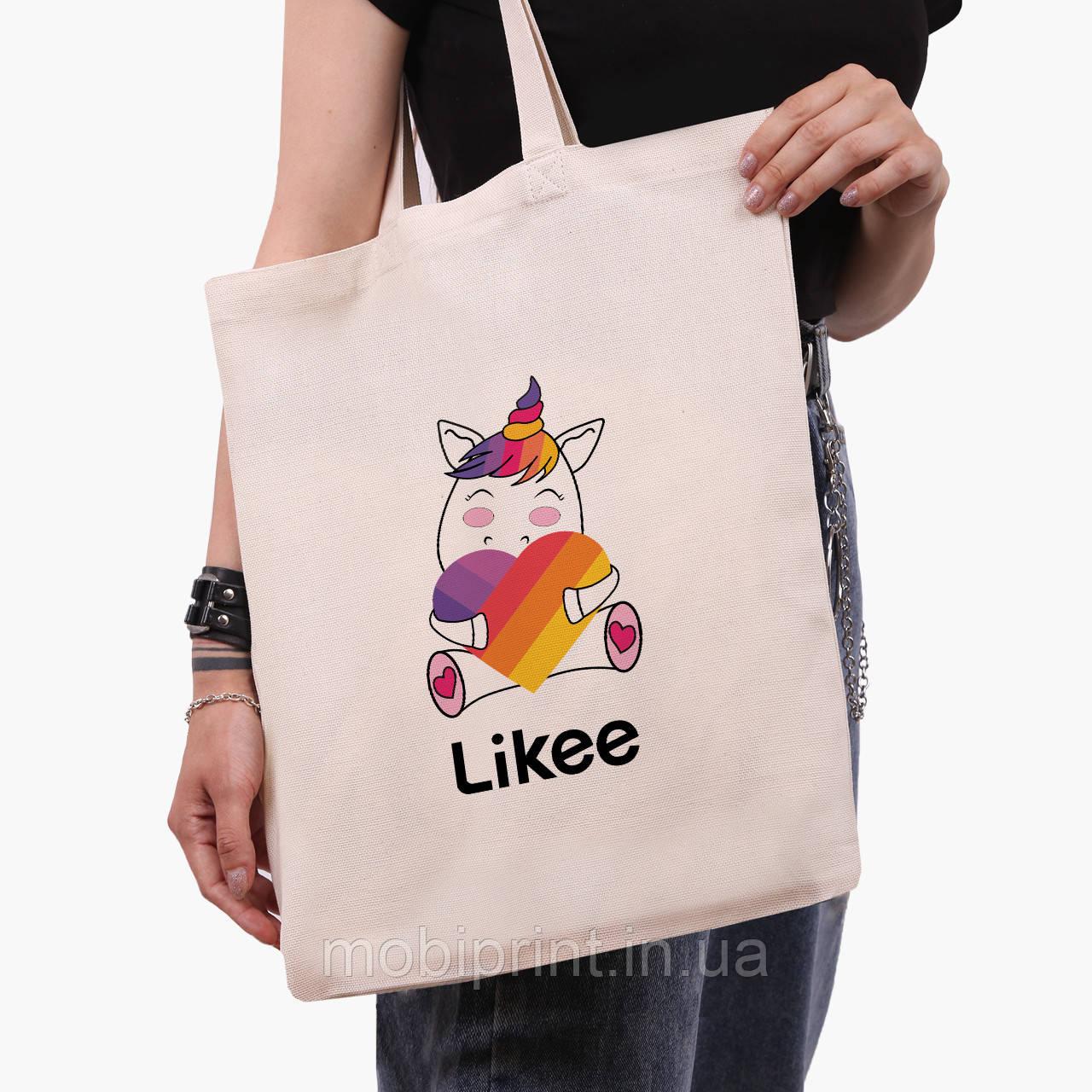 Эко сумка шоппер Лайк Единорог (Likee Unicorn) (9227-1037)  экосумка шопер 41*35 см