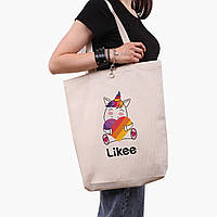 Эко сумка шоппер белая Лайк Единорог (Likee Unicorn) (9227-1037-1) экосумка шопер 41*39*8 см