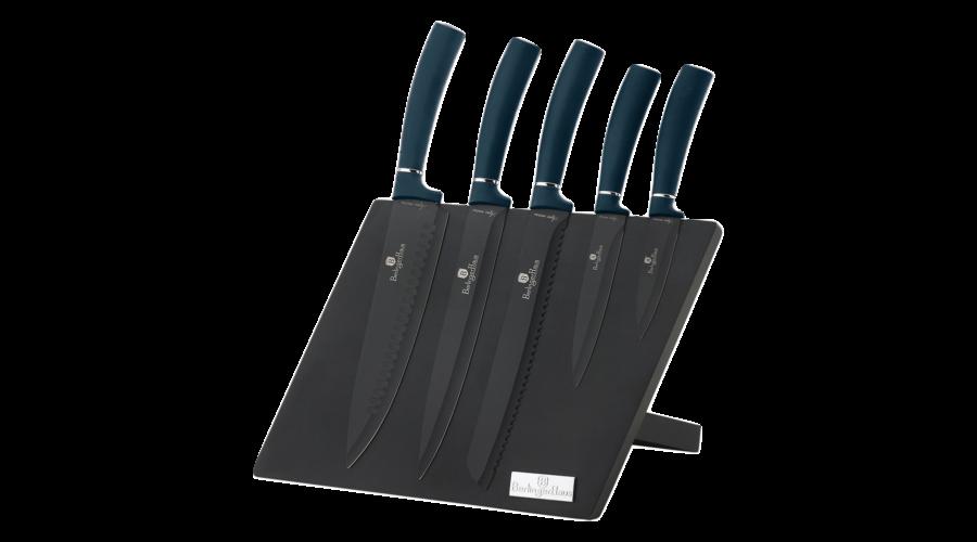 Набор ножей на магнитной подставкой Berlinger Haus Metallic Line AQUAMARINE Edition BH-2517