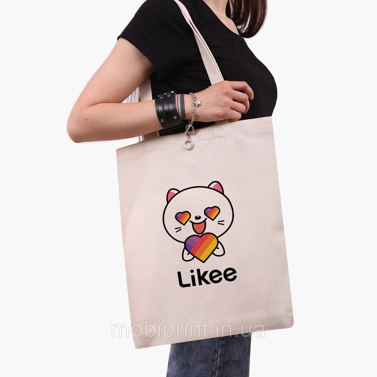 Эко сумка шоппер Лайк Котик (Likee Cat) (9227-1036)  экосумка шопер 41*35 см