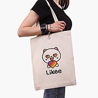 Эко сумка шоппер Лайк Котик (Likee Cat) (9227-1036)  экосумка шопер 41*35 см, фото 1