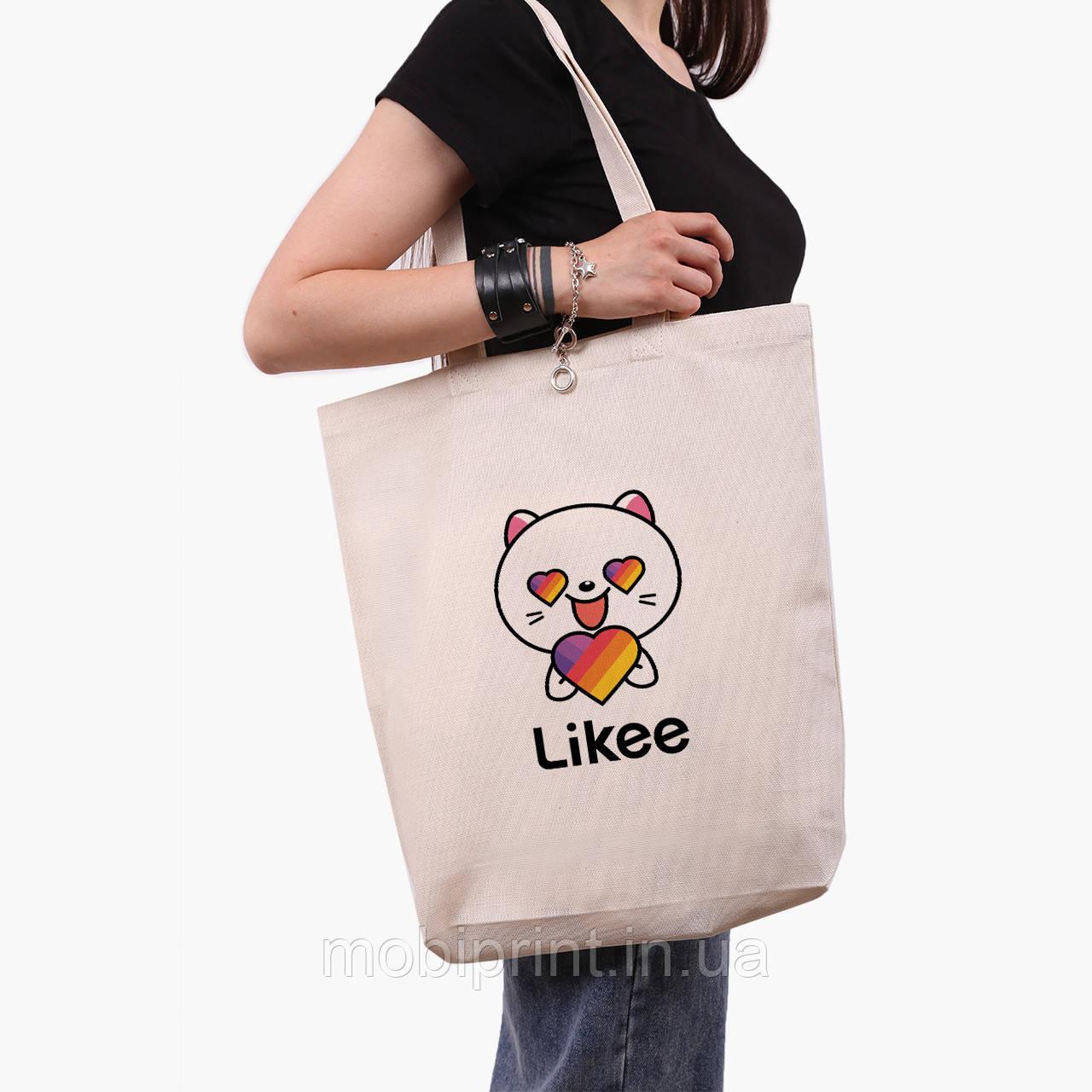 Эко сумка шоппер белая Лайк (Likee) (9227-1036-1)  экосумка шопер 41*39*8 см
