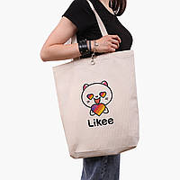 Эко сумка шоппер белая Лайк (Likee) (9227-1036-1)  экосумка шопер 41*39*8 см , фото 1