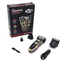 Машинка для стрижки волос беспроводная аккумуляторная Триммер для носа и бровей 3в1 Geemy GM-595