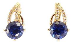 """Серьги M&L желтый оттенок английский замок """"Синие кристаллы с декоративной дужкой"""""""