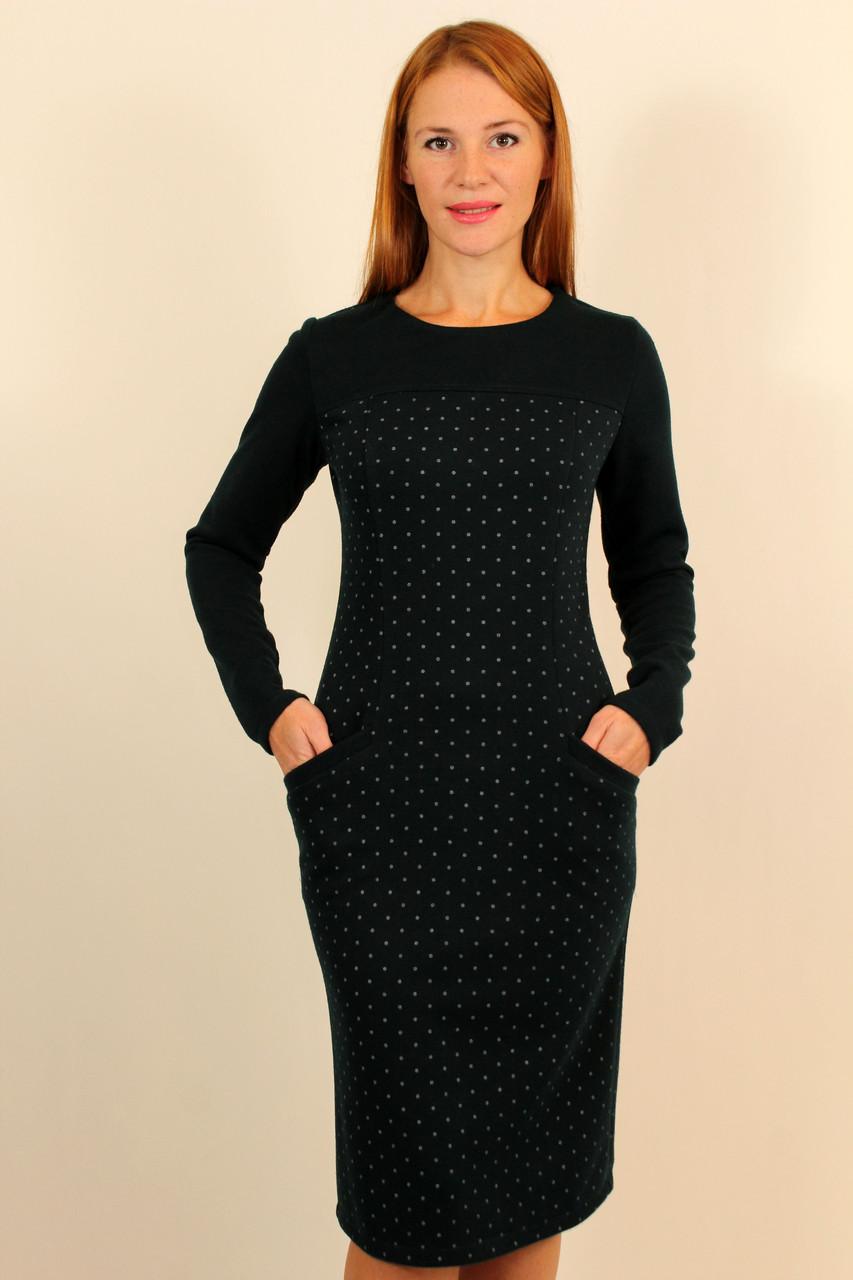 Платье теплое ниже колена 44-50 р ( разные цвета )