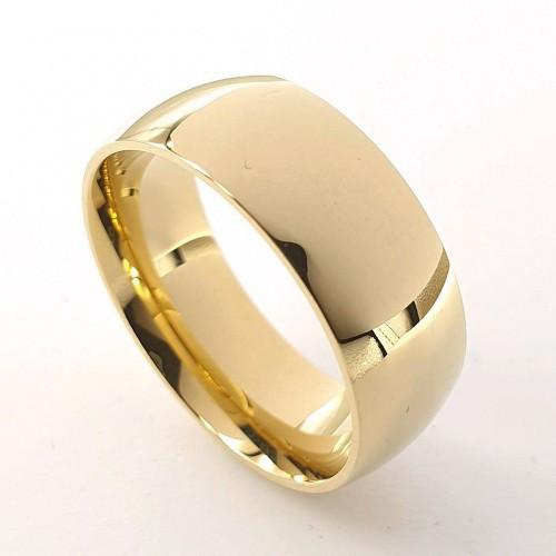 Кольцо обручальное ювелирная сталь классика 8 мм под золото 176283