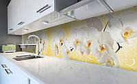 Виниловый кухонный фартук Белые Орхидеи Орнамент (самоклеющаяся пленка ПВХ скинали 3Д) Цветы Желтый 600*2500 мм, фото 1