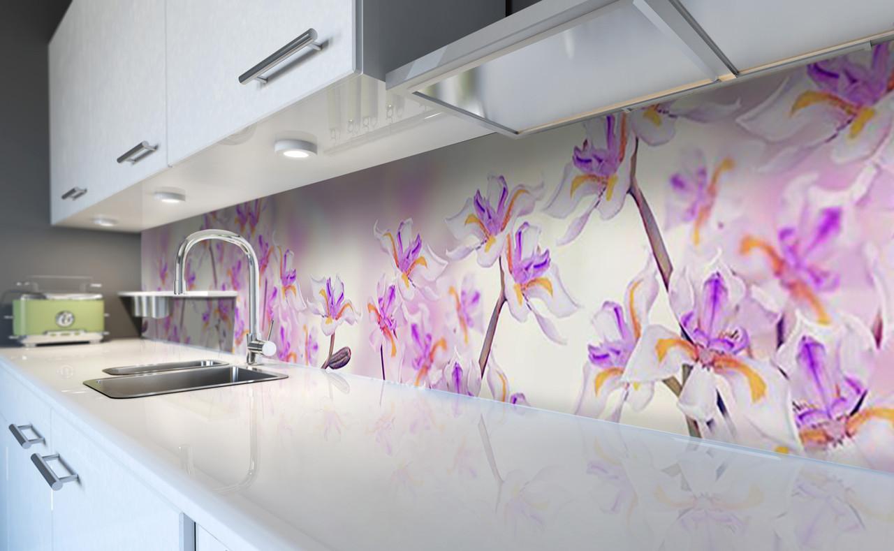 Виниловый кухонный фартук Дикие Ирисы (самоклеющаяся пленка ПВХ скинали 3Д) необычные Цветы Фиолетовый 600*2500 мм