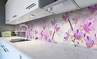 Виниловый кухонный фартук Дикие Ирисы (самоклеющаяся пленка ПВХ скинали 3Д) необычные Цветы Фиолетовый 600*2500 мм, фото 1
