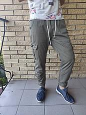 Джоггеры, джинси з поясом на резинці унісекс, накладні кишені карго, є великі розміри NN, фото 3
