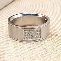 Кольцо обручальное ювелирная сталь матовое 9 мм с циркониями 176284, фото 1