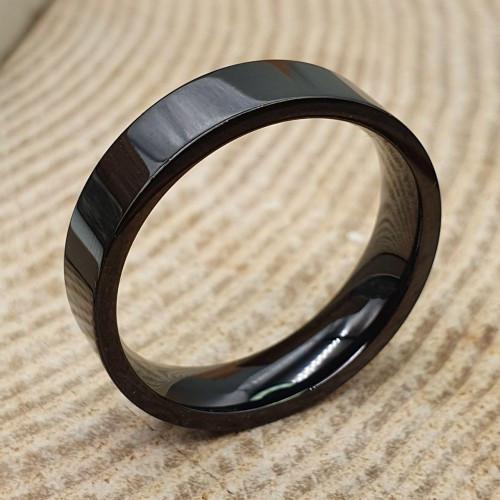 Кольцо унисекс из медицинской стали черное американка 6 мм под гравировку 176285
