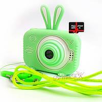20Мп Детский цифровой фотоаппарат с фронтальной камерой Зеленый Зайчик Люкс Children`s fun с картой 32Гб