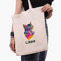 Эко сумка шоппер Лайк (Likee) (9227-1040)  экосумка шопер 41*35 см , фото 1