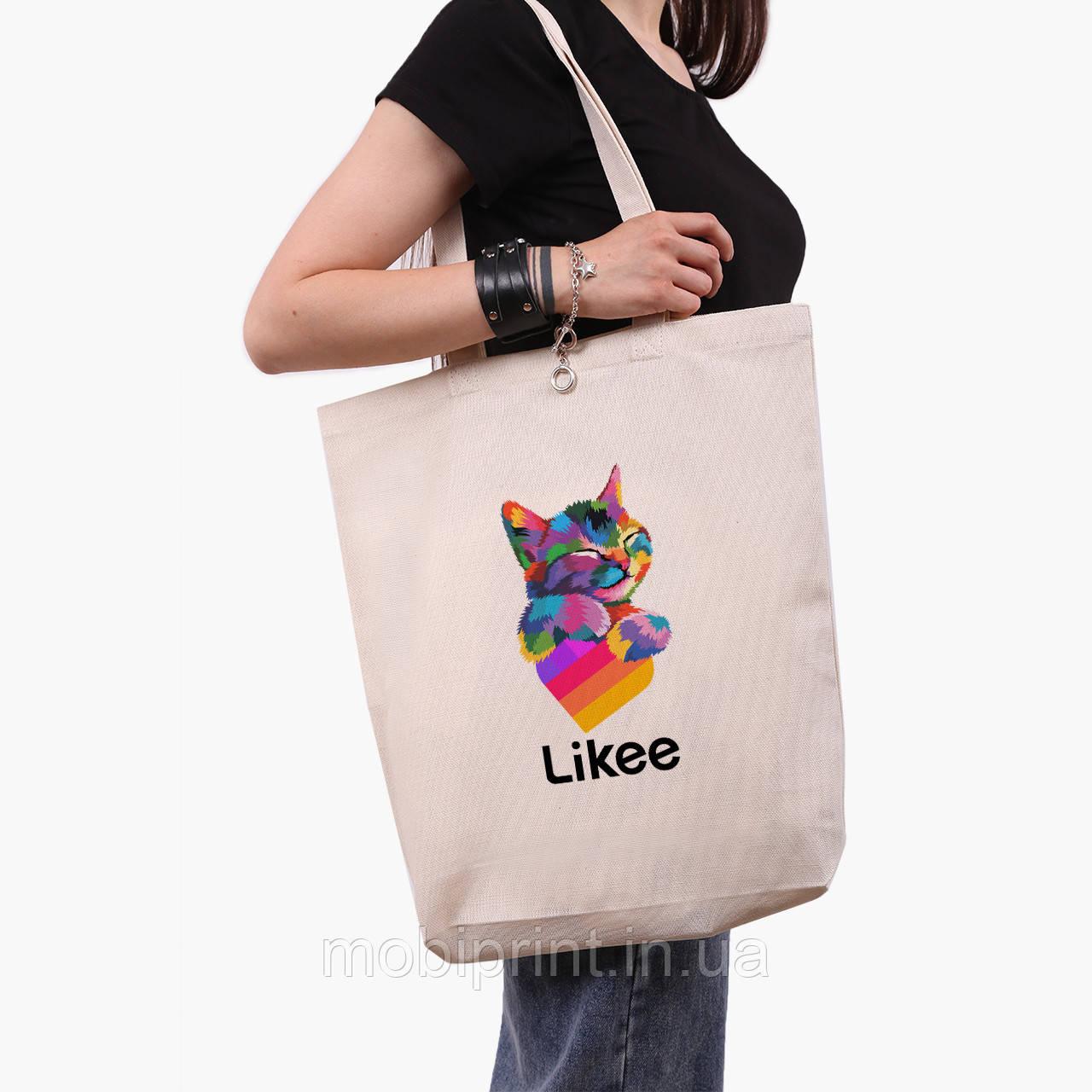 Эко сумка шоппер белая Лайк Котик (Likee Cat) (9227-1040-1)  экосумка шопер 41*39*8 см