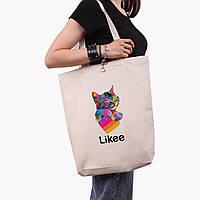 Эко сумка шоппер белая Лайк Котик (Likee Cat) (9227-1040-1)  экосумка шопер 41*39*8 см, фото 1