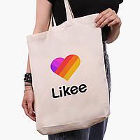 Эко сумка шоппер белая Лайк (Likee) (9227-1041-1)  экосумка шопер 41*39*8 см, фото 1