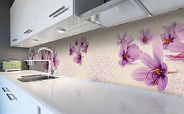 Виниловый кухонный фартук Крокусы Шафран самоклеющаяся пленка ПВХ скинали 3Д тычинки Цветы Фиолетовый 600*2500