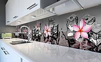 Виниловый кухонный фартук Розовые Леи и Лед самоклеющаяся пленка ПВХ скинали 3Д цветы Текстуры Серый 600*2500