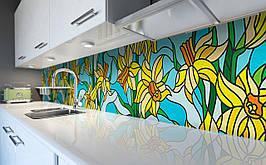 Вініловий кухонний фартух Нарциси Вітраж самоклеюча плівка ПВХ скіналі 3Д малюнок Квіти Жовтий 600*2500 мм