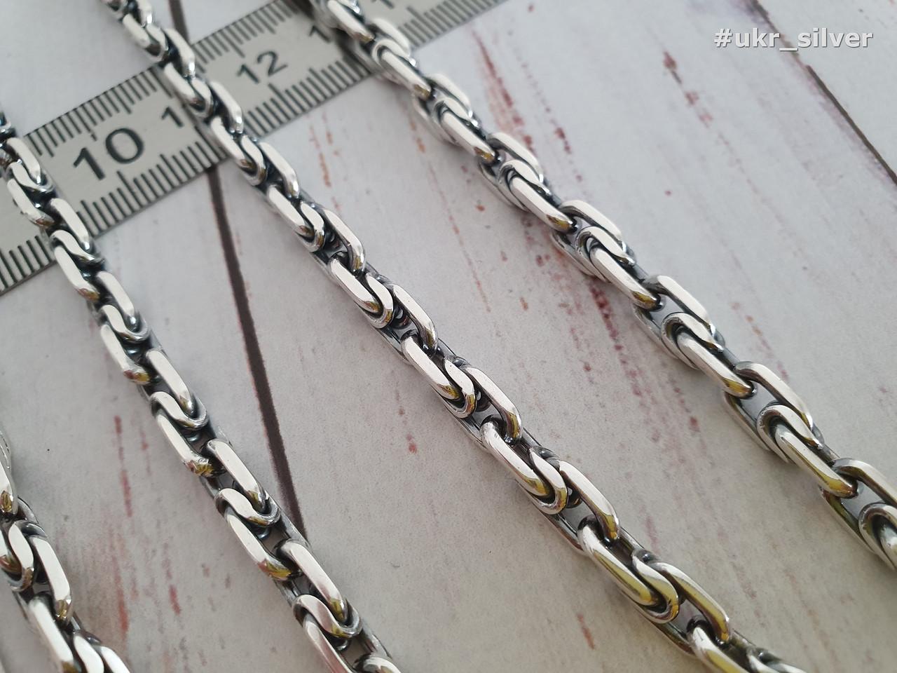 Серебряная цепь Московский Бит. 55 см. Вес 48.8 гр. 925 проба. Ручное плетение.