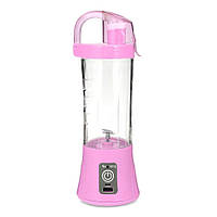 Портативный фитнес блендер для смузи и коктейлей с бутылкой Ollipin аккумуляторный USB шейкер Розовый (GIPS),