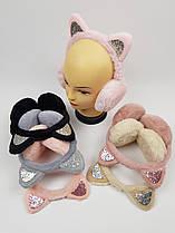Детские меховые наушники с ушками для девочек оптом