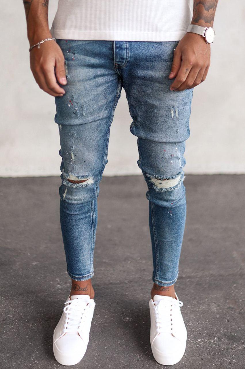 Джинсы - мужские голубые джинсы потертые