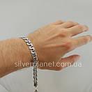 Чоловічий срібний браслет плоский бісмарк. ширина ланки 8 мм, фото 2