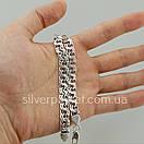 Чоловічий срібний браслет плоский бісмарк. ширина ланки 8 мм, фото 4