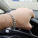 Чоловічий срібний браслет плоский бісмарк. ширина ланки 8 мм, фото 6