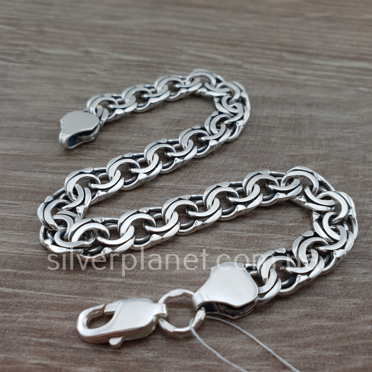 Чоловічий срібний браслет плоский бісмарк. ширина ланки 8 мм