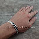 Чоловічий срібний браслет плоский бісмарк. ширина ланки 8 мм, фото 10