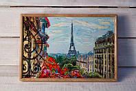 Поднос на подушке BST 46*32 деревянный Париж балкон, фото 1