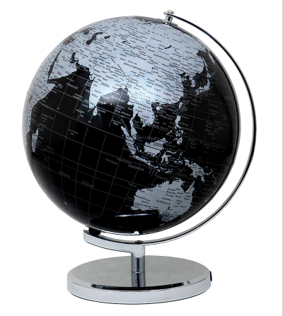 Глобус 25 см диаметр Черно-Серый