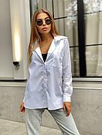 Женская коттоновая белая рубашка оверсайз прямого кроя с карманом на груди в едином размере 42-46 22BL406, фото 1