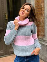 Женский вязаный свитер в полоску с рукавом регланом и воротником хомутом р. единый 42-46 22KF894, фото 1