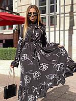 Черное платье с расклешенной юбкой и закрытым верхом (р. 42-46) 22PL1603, фото 1