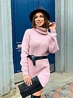 Вязаное платье прямого кроя с рукавом регланом и воротником хомутом в едином размере 42-46 22PL1605, фото 1