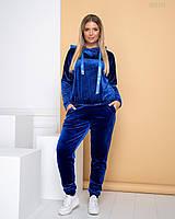 Женский велюровый спортивный костюм - брюки и худи с капюшоном в батальных размерах 83BR768, фото 1