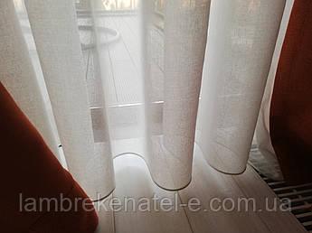 Тюль в зал лен эко-Фактура цвет белый