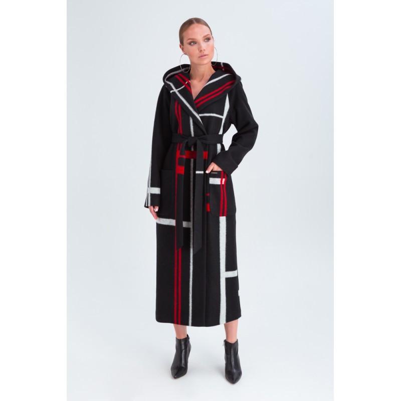 Стильное женское демисезонное пальто с капюшоном черно-красное Vam  676