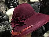 Шляпа с большими  полями ,белыми и красными лентами, фото 2