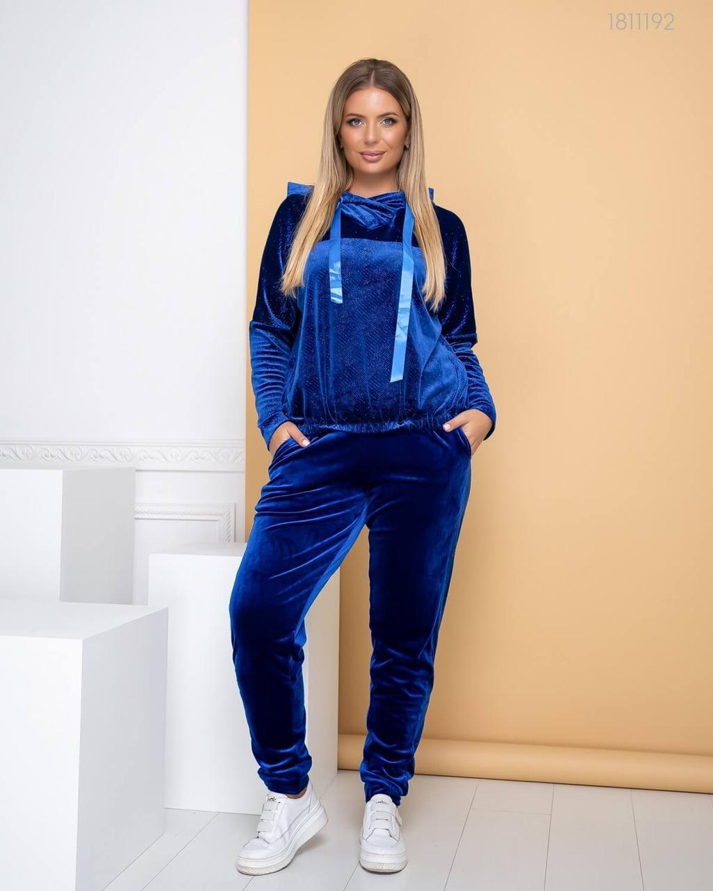 Женский велюровый спортивный костюм - брюки и худи с капюшоном в батальных размерах 83ba768