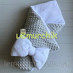 Конверт-одеяло минки на махре, светло-серый