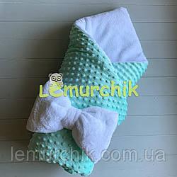 Конверт-одеяло минки на махре, мятный плюш пупырка